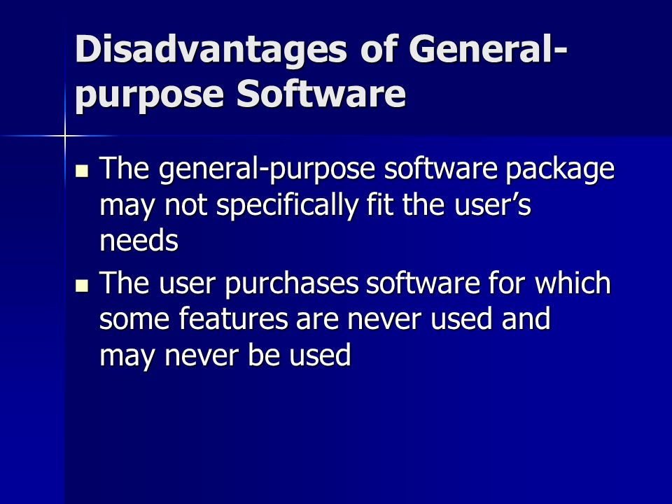 advantages and disadvantages of using generalized audit software All of the following are advantages of the test data technique except 34   generalized audit software packages perform all of the following tasks except  short.