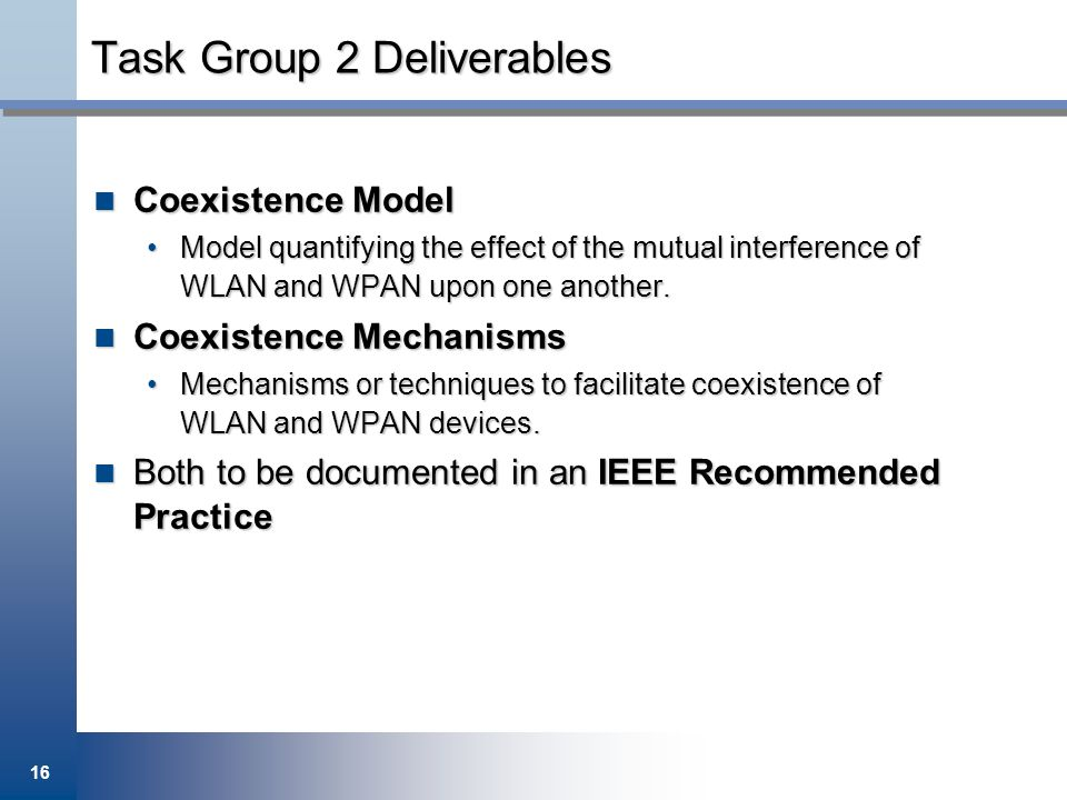 Task Group 2 Deliverables