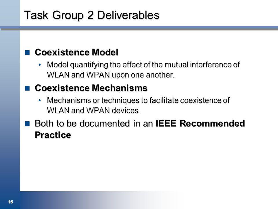 Task Group 2 Deliverables