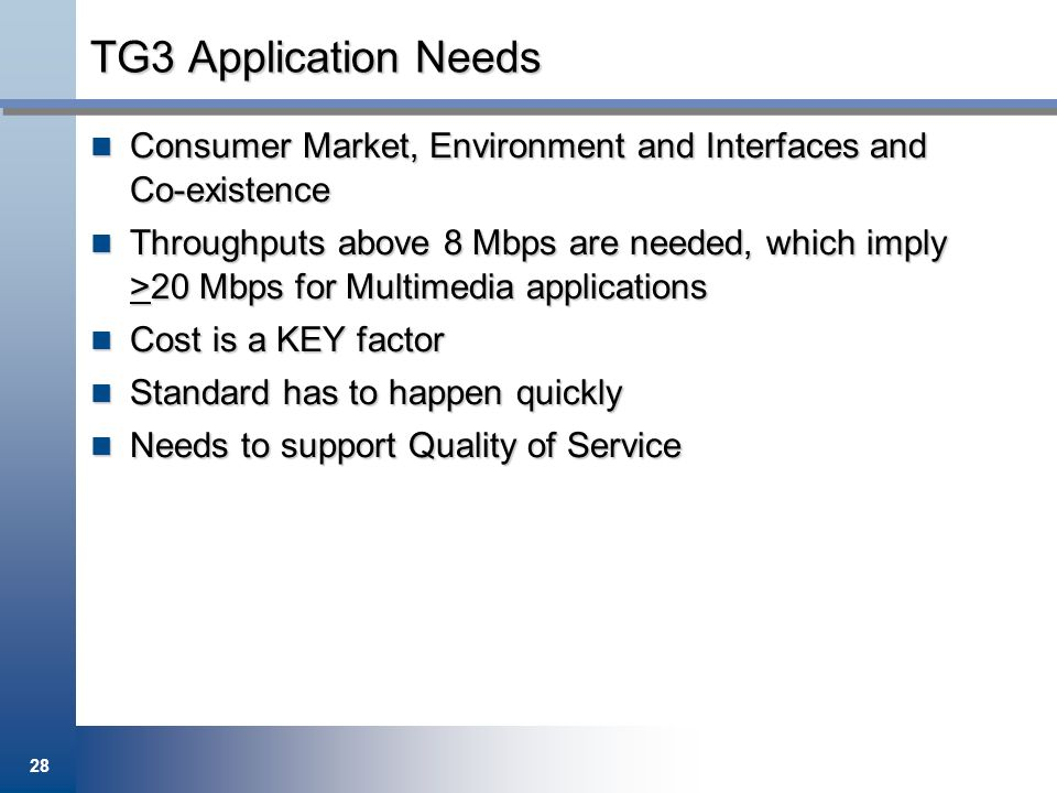 TG3 Application Needs Consumer Market, Environment and Interfaces and Co-existence.