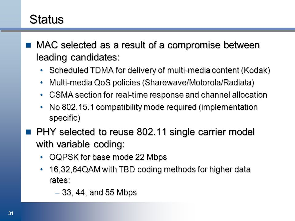 Status MAC selected as a result of a compromise between leading candidates: Scheduled TDMA for delivery of multi-media content (Kodak)
