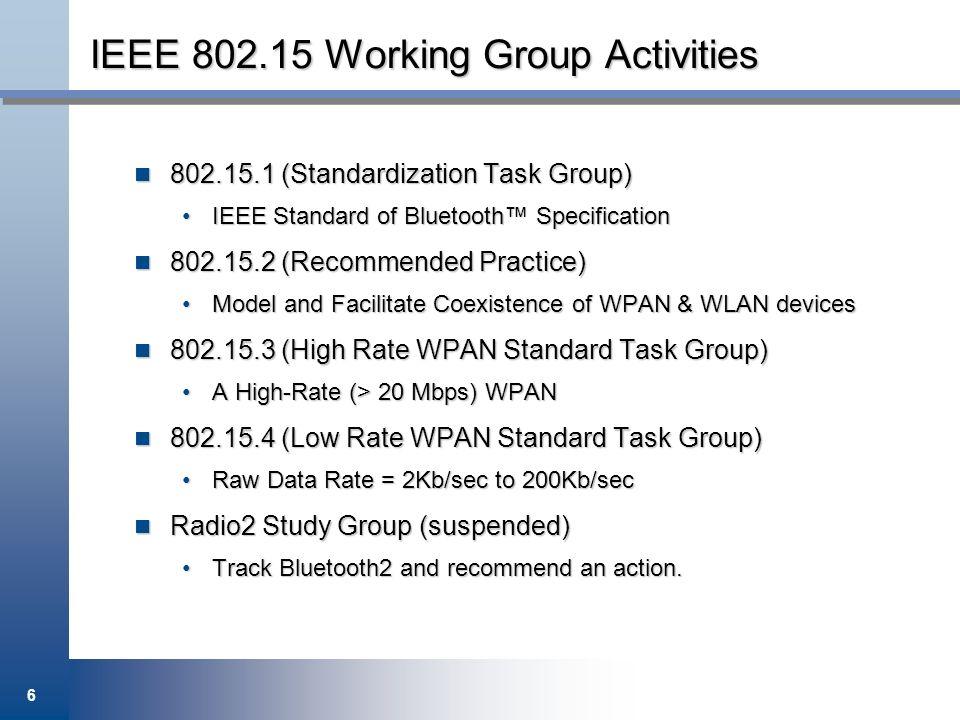 IEEE 802.15 Working Group Activities