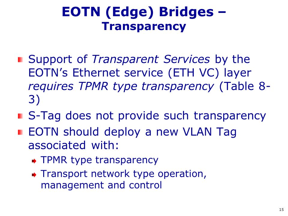 EOTN (Edge) Bridges – Transparency