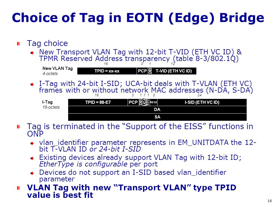 Choice of Tag in EOTN (Edge) Bridge