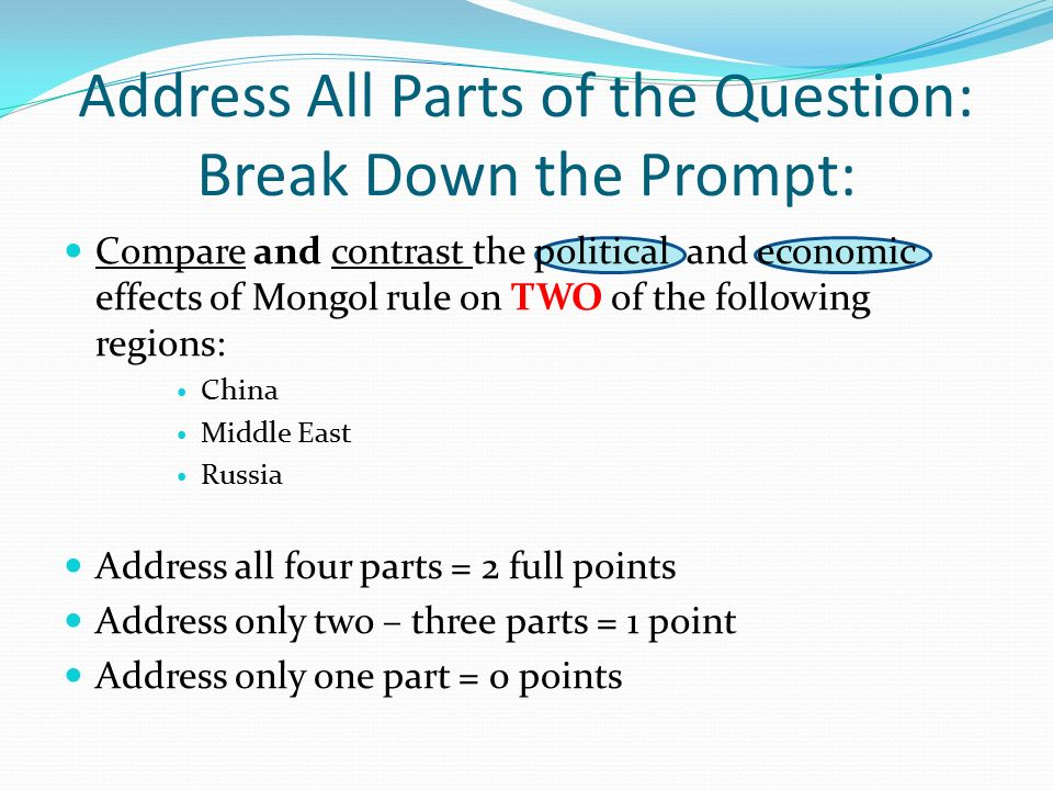 compare and contrast mongol rule essay Comparison and contrast essay is one of the most common assignments in american high schools and universities in this type of essay students have to compare two (in some essays several) things, problems, events or ideas and evaluate their resemblances and differences.