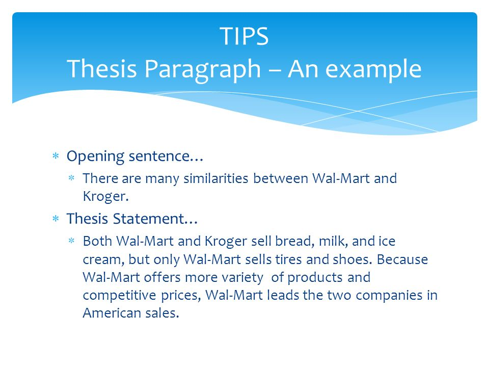 tips thesis paragraph an example - Comparison Essay Thesis Example