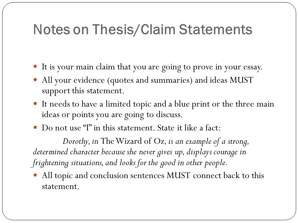 essay notes ppt notes on thesis claim statements