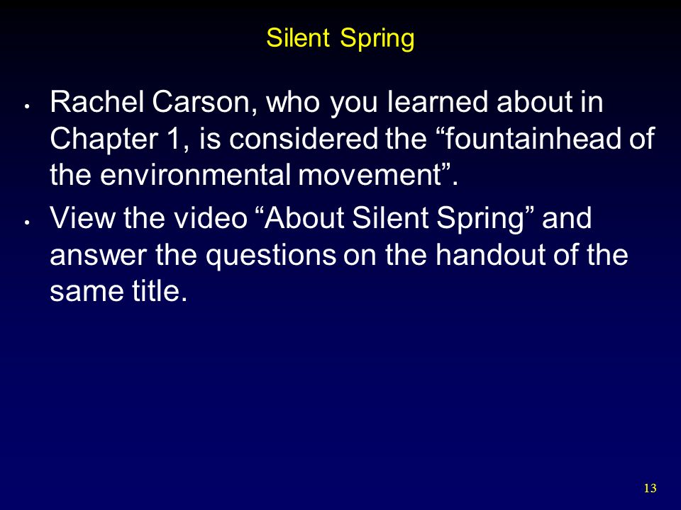 silent spring summary Silent spring is a 1962 book by rachel carson that greatly influenced the modern environmental movement in america the book focuses on the abuse of pesticides and the dangers pesticides pose to animal and human life.