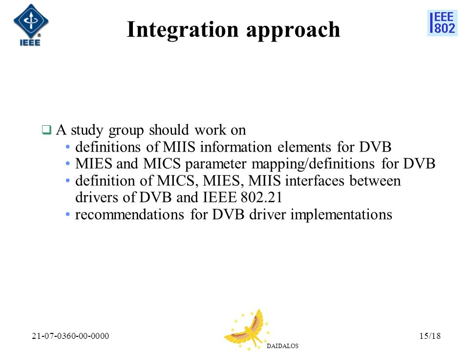 Integration approach A study group should work on