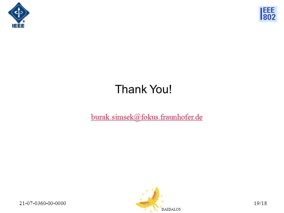 Thank You! burak.simsek@fokus.fraunhofer.de 21-07-0360-00-0000