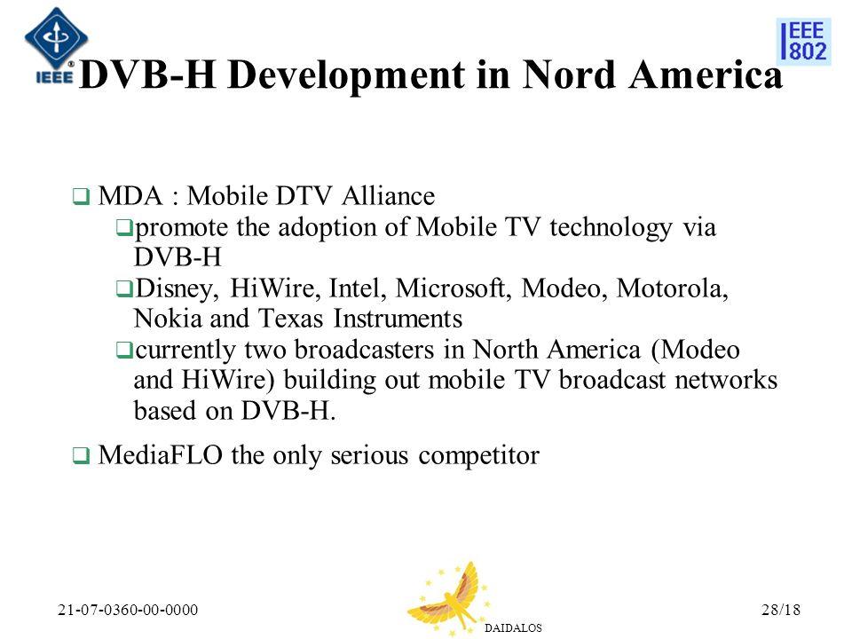 DVB-H Development in Nord America