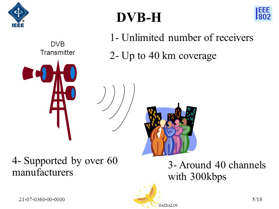 DVB-H 1- Unlimited number of receivers 2- Up to 40 km coverage