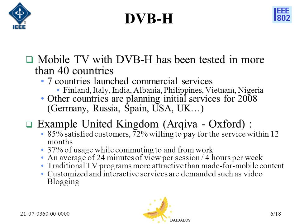 DVB-H Mobile TV with DVB-H has been tested in more than 40 countries