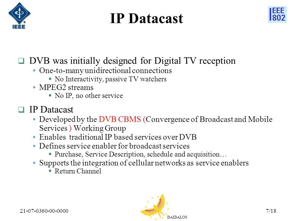 IP Datacast DVB was initially designed for Digital TV reception