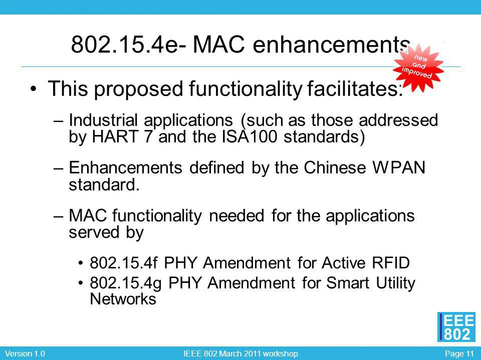 802.15.4e- MAC enhancements This proposed functionality facilitates: