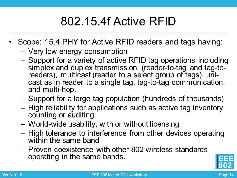 802.15.4f Active RFID Scope: 15.4 PHY for Active RFID readers and tags having: Very low energy consumption.