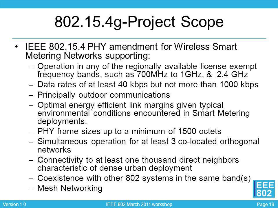 802.15.4g-Project Scope IEEE 802.15.4 PHY amendment for Wireless Smart Metering Networks supporting: