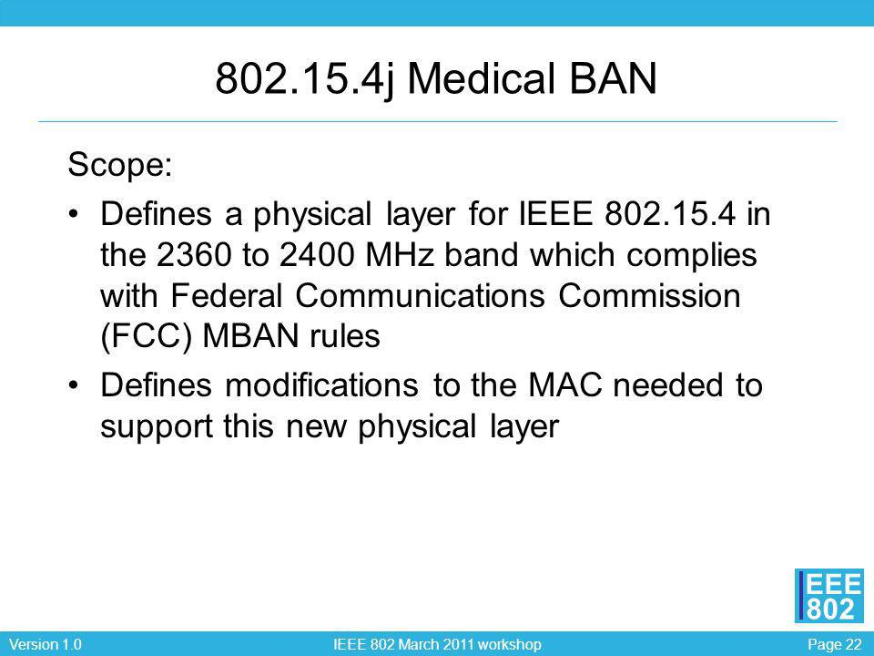 802.15.4j Medical BAN Scope: