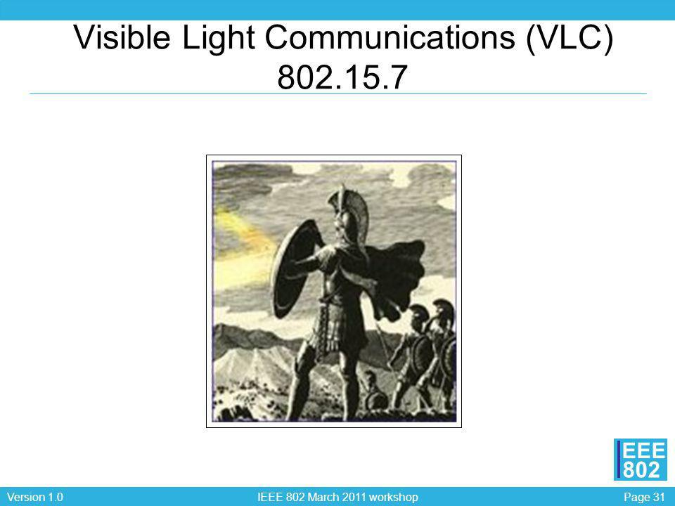 Visible Light Communications (VLC) 802.15.7