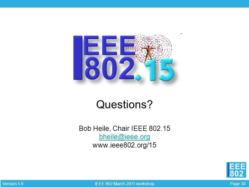 Questions. Bob Heile, Chair IEEE 802. 15 bheile@ieee. org www. ieee802