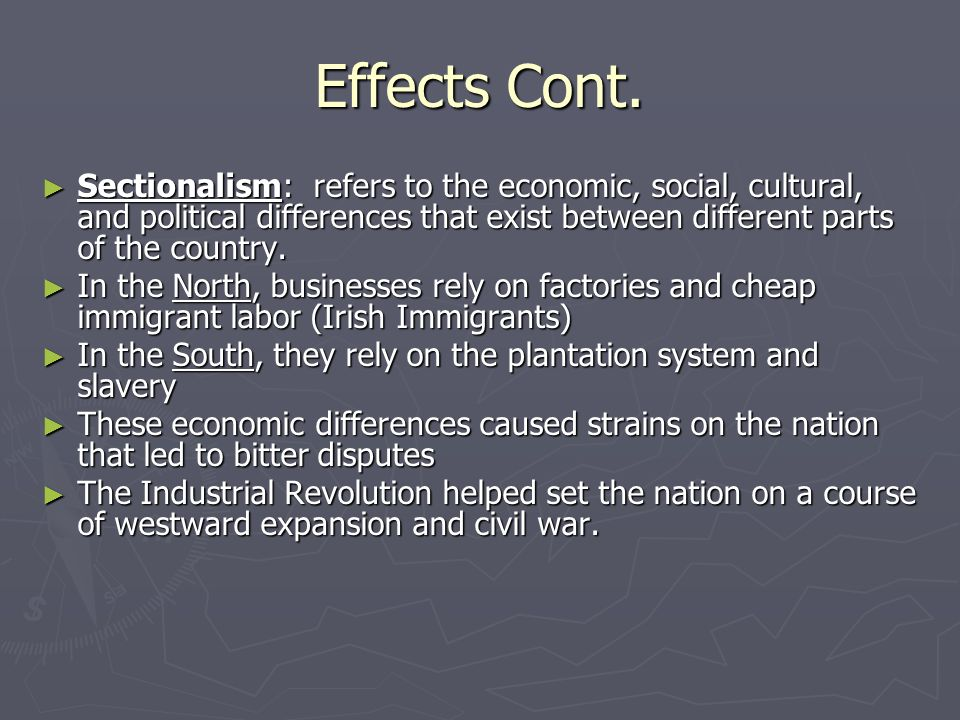 westward expansion effects on the civil war The effects of westward expansion - at  the american civil war: the inevitable confrontation - since the beginning of the market revolution,.