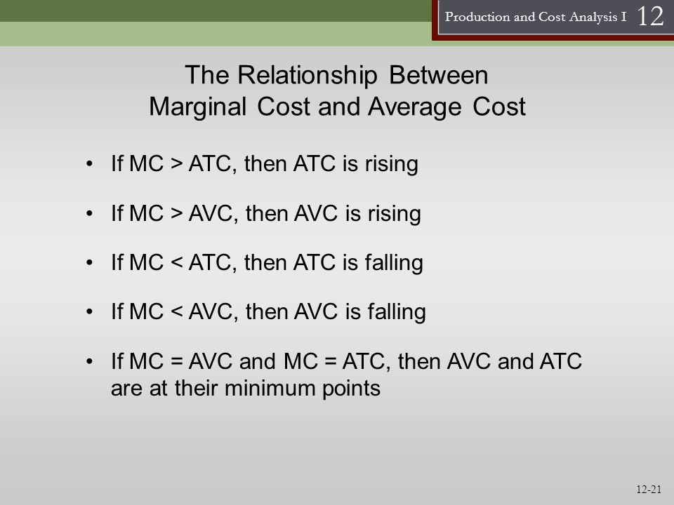 marginal revenue and marginal cost relationship In perfect market conditions, marginal revenue equals the market price of an item perfect conditions occur when no reciprocal relationship exists between the price.