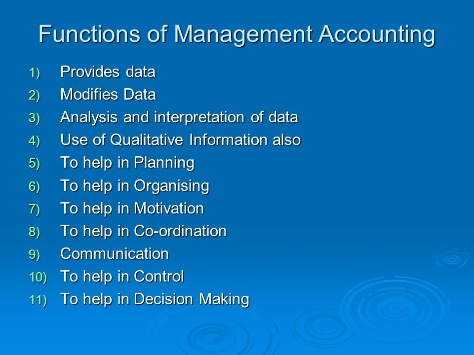 What Are the Functions of Management Accounting?