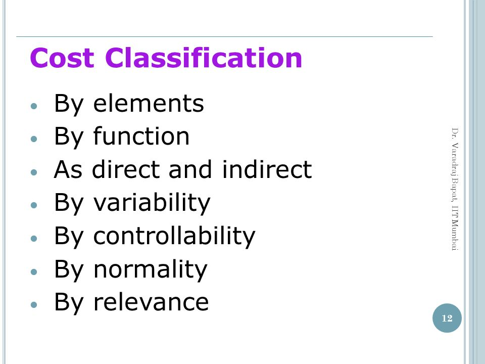 Cost Classification By elements By function As direct and indirect
