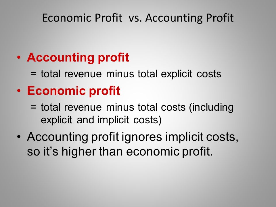 accounting profit vs economic profit the Accounting profit vs economic profit generally, profit is the difference between costs and revenue accounting profit and economic profit may sound similar, but they actually have major differences in how they measure a company's financial health.