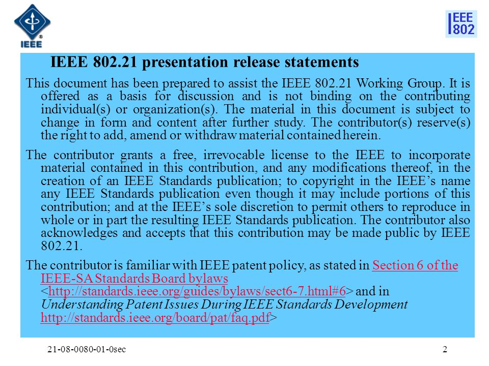 IEEE 802.21 presentation release statements