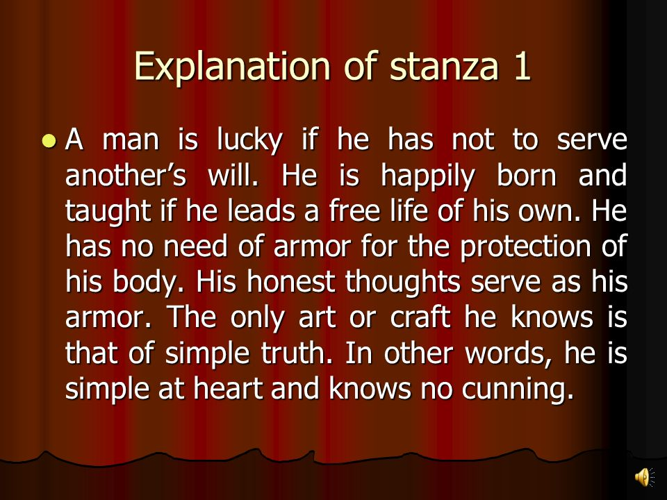 Explanation of the poem by stanza Essay Sample