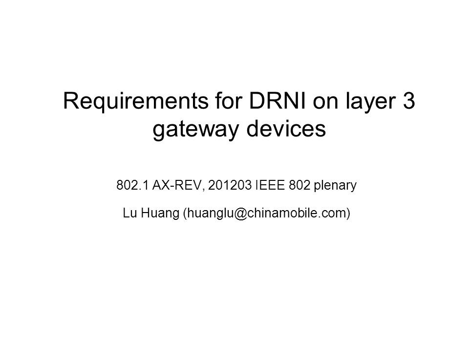 Requirements for DRNI on layer 3 gateway devices