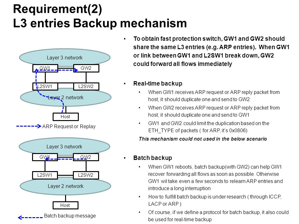 Requirement(2) L3 entries Backup mechanism