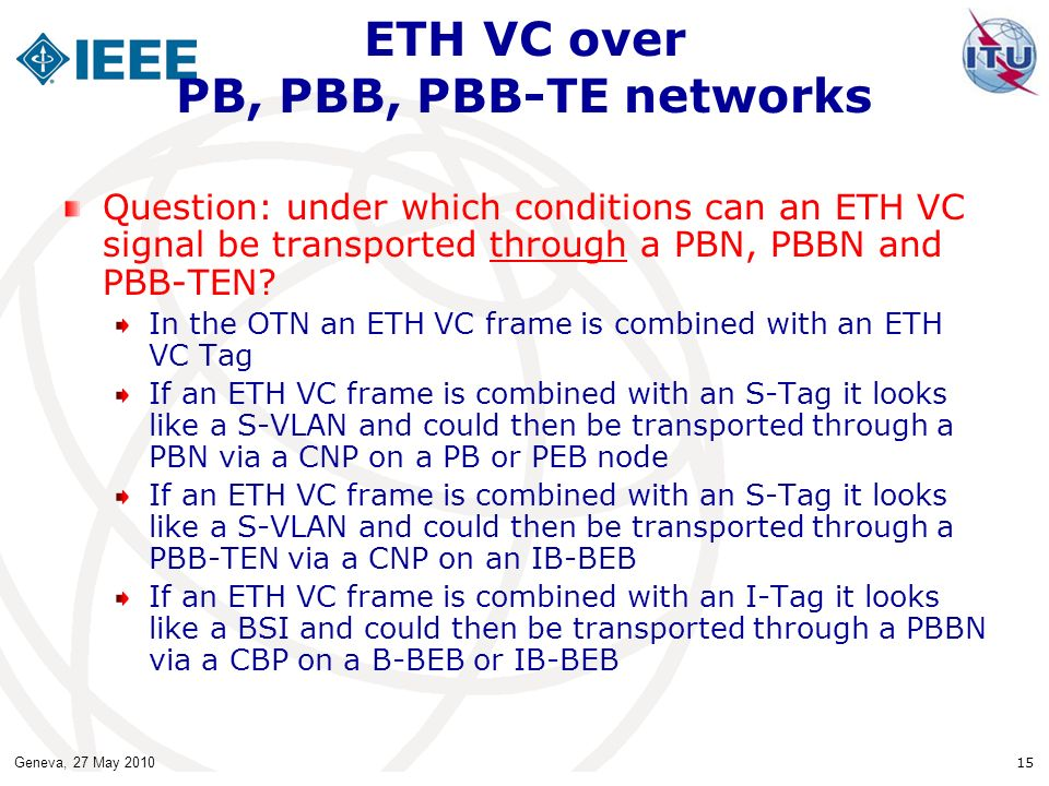 ETH VC over PB, PBB, PBB-TE networks