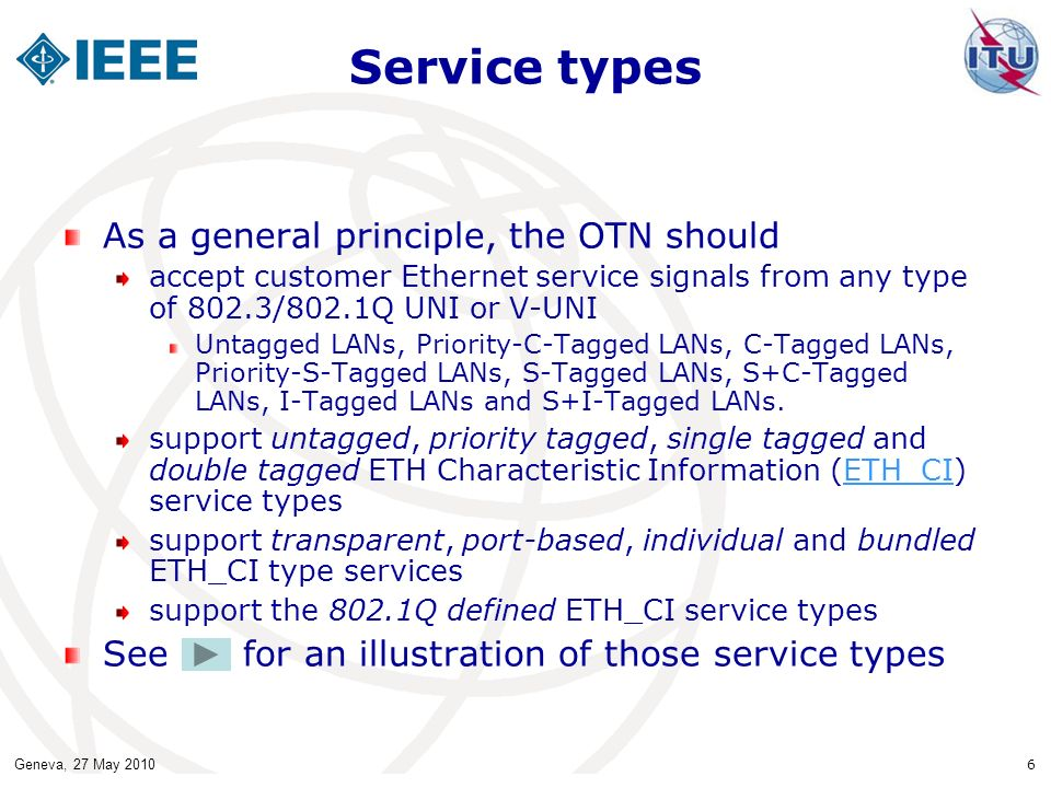 Service types As a general principle, the OTN should