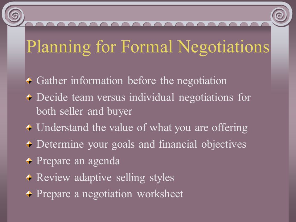 negotiation planning 5 In addition to arriving to an agreement, planning is one of the most important aspects of a negotiation meeting poor planning can result in allowing the other party to take more concessions.