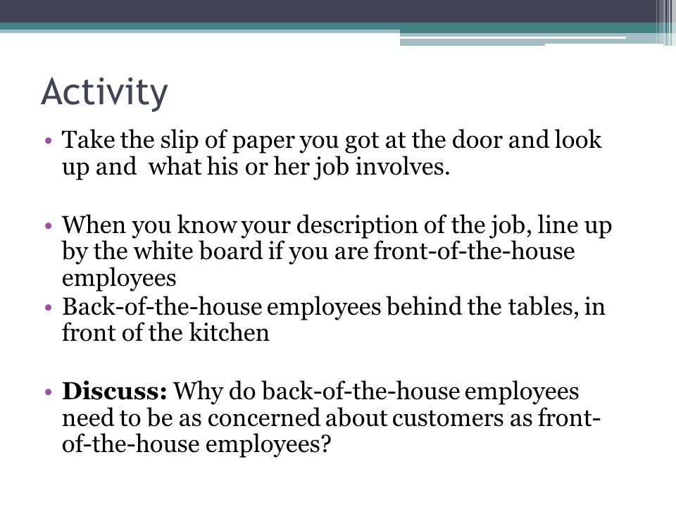 Activity Take the slip of paper you got at the door and look up and what his or her job involves.