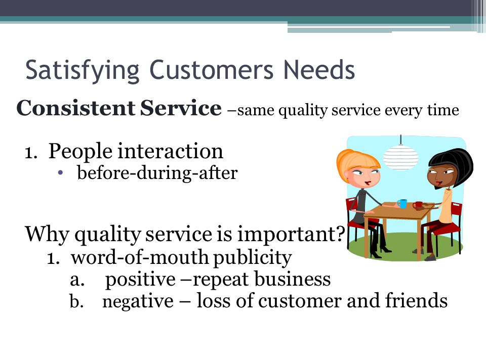 Satisfying Customers Needs