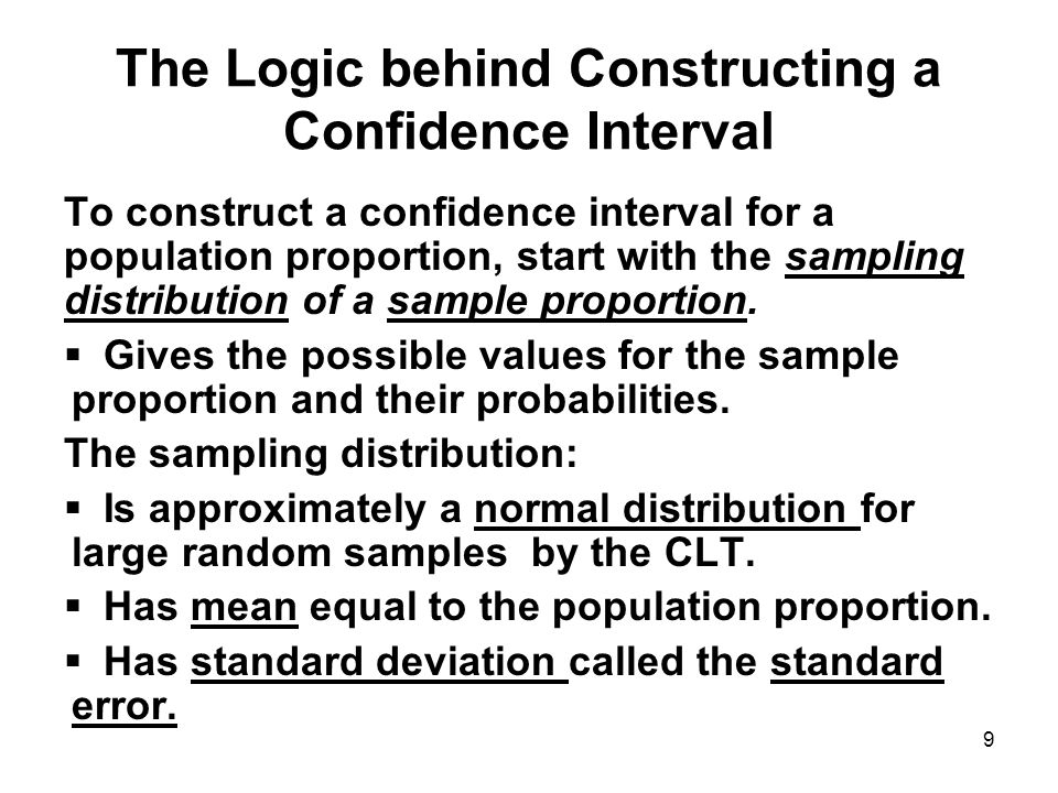 CHAPTER 10 CONFIDENCE INTERVALS FOR ONE SAMPLE POPULATION - ppt ...