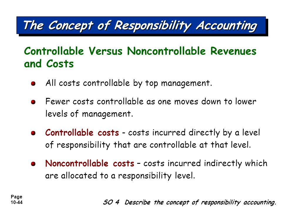 responsibility accounting and cost control Because without accountability we cannot control business what is responsibility accounting by different responsibility centers: cost center where.