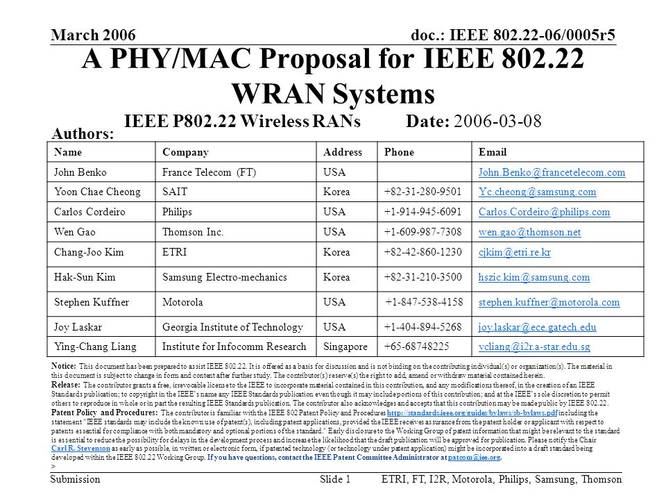 A PHY/MAC Proposal for IEEE 802.22 WRAN Systems