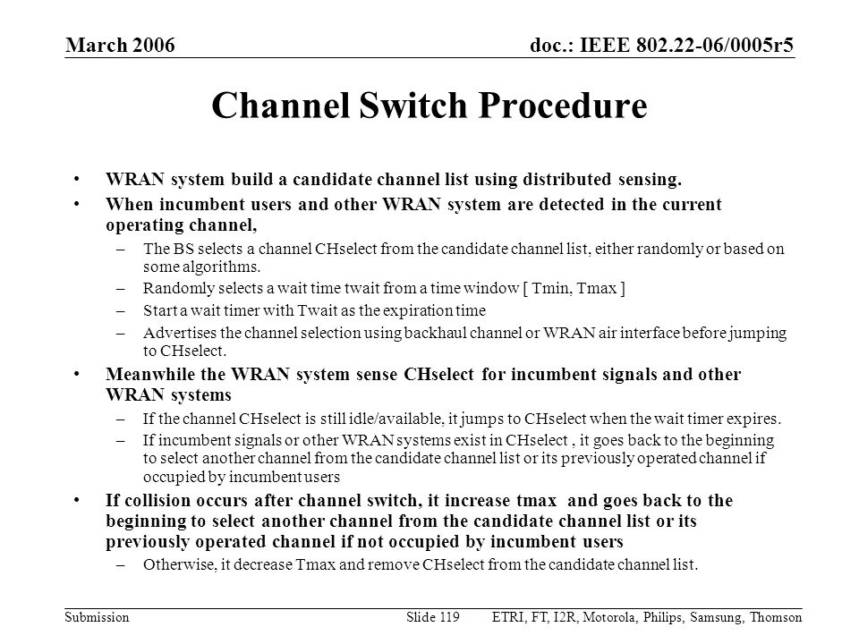 Channel Switch Procedure