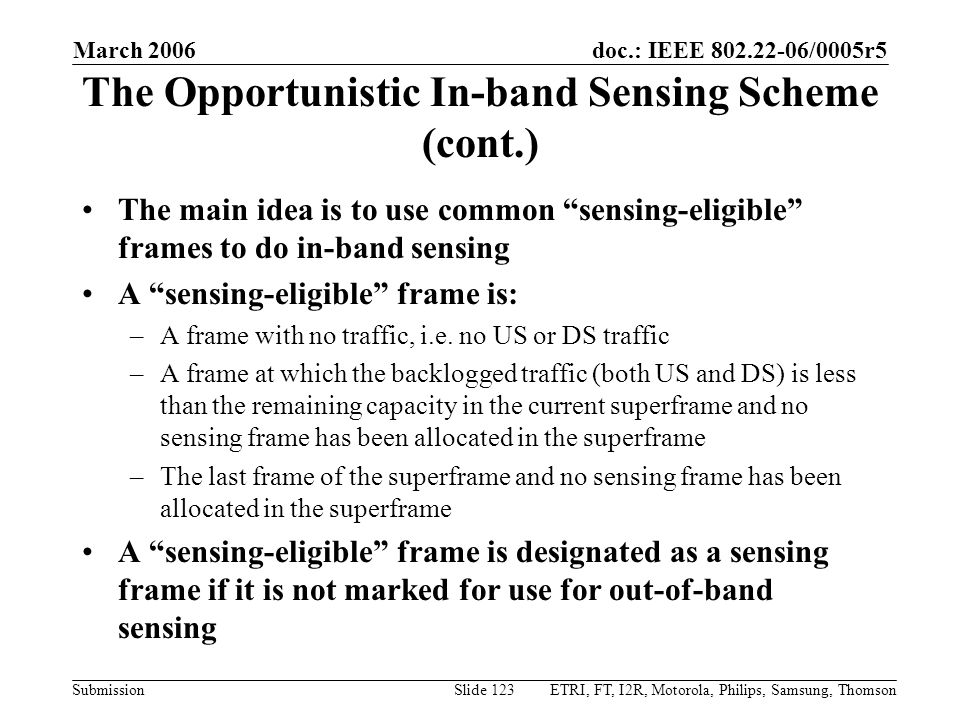 The Opportunistic In-band Sensing Scheme (cont.)