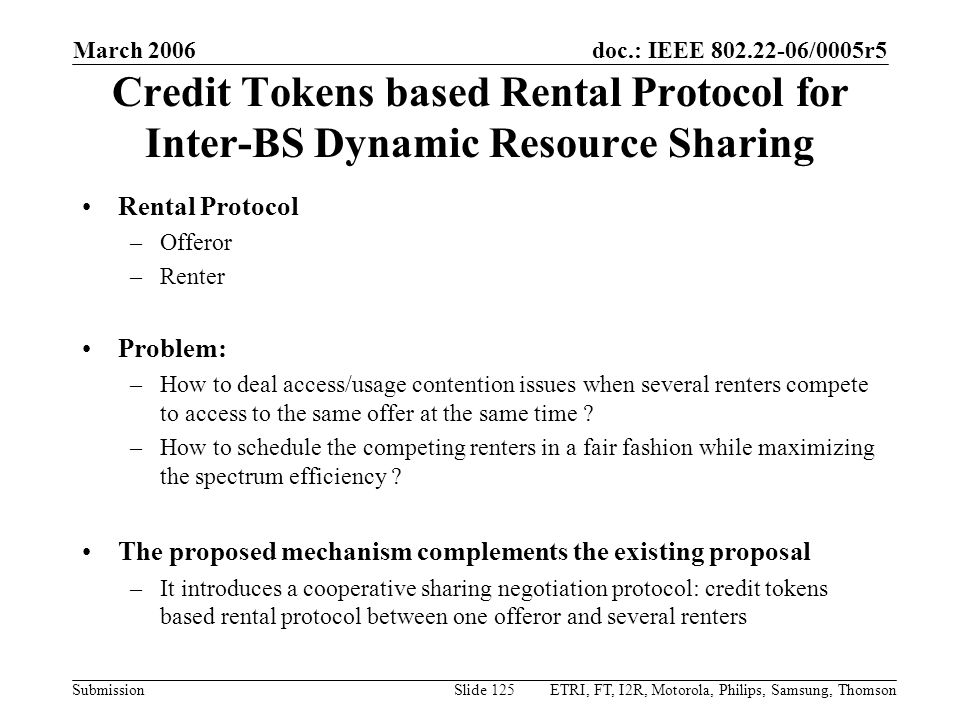 Month Year doc.: IEEE 802.22-yy/xxxxr0. March 2006. Credit Tokens based Rental Protocol for Inter-BS Dynamic Resource Sharing.
