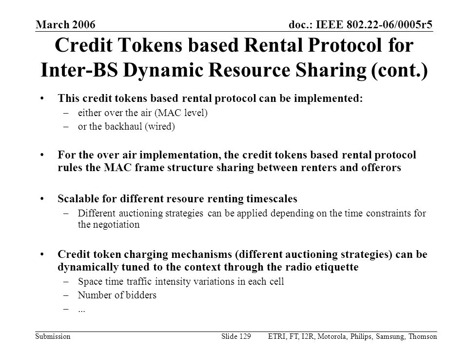 March 2006 Credit Tokens based Rental Protocol for Inter-BS Dynamic Resource Sharing (cont.)