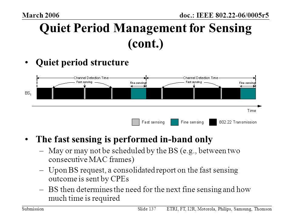 Quiet Period Management for Sensing (cont.)