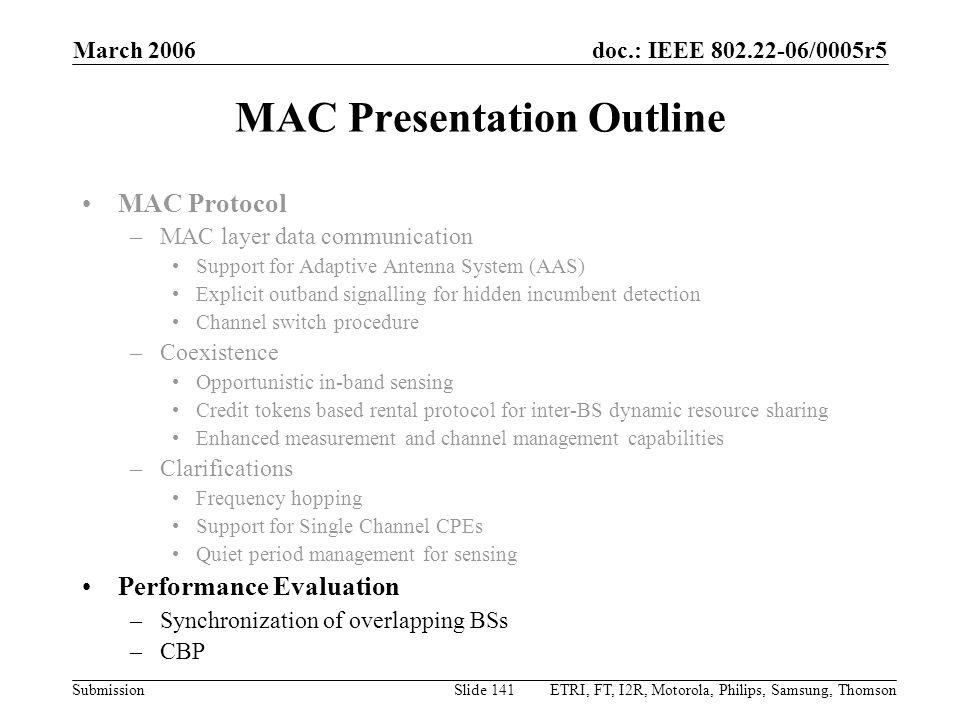 MAC Presentation Outline