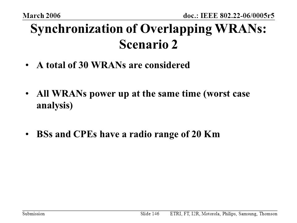 Synchronization of Overlapping WRANs: Scenario 2