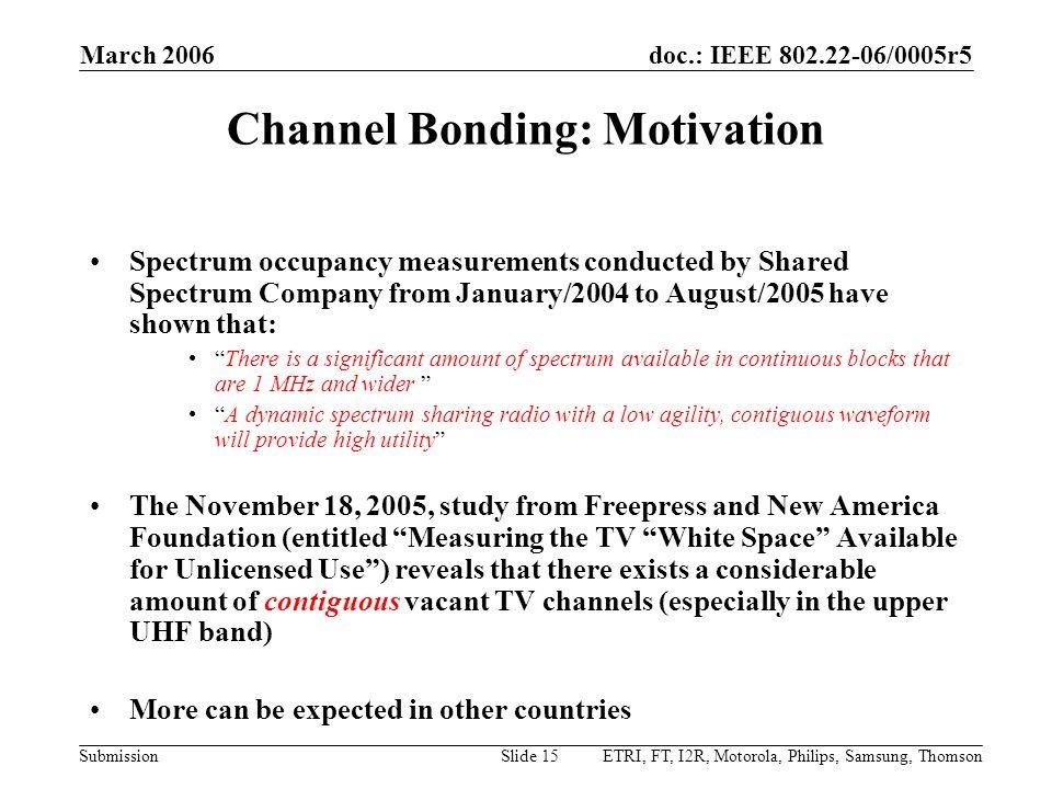 Channel Bonding: Motivation
