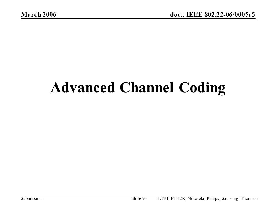 Advanced Channel Coding